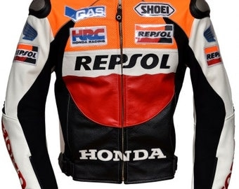 leather jacket, leather motorbike jacket, leather motorcycle jacket made to measure Fashion Racing Honda Repsol