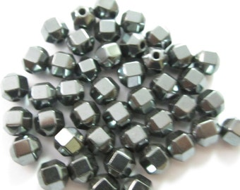 Faceted Hematite Round Beads 6mm (42)