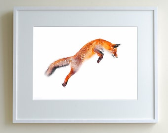 Pouncing fox, animal art, fox watercolor, watercolor painting, animal watercolour, fox print