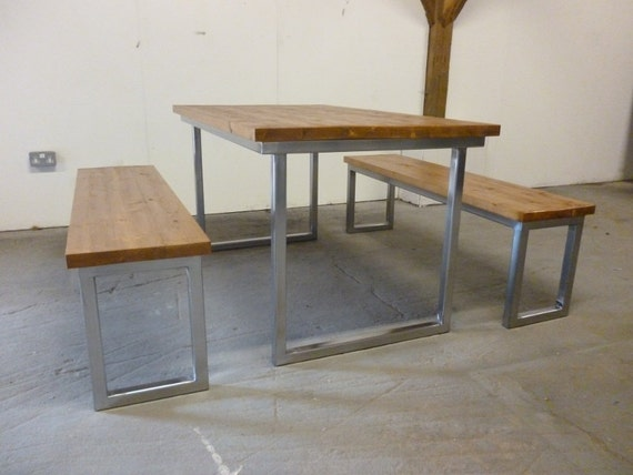 Industrial Dining Table Set: Industrial Dining Table And Bench Set Polished By
