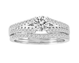 0.75ct Diamond 14K White Gold Engagement & Wedding Band Bridal Set Rings