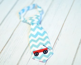 Little Guy Tie - Little Red Wagon Little Guy Tie in Aqua White Chevron with Red - Radio Flyer Wagon Boys Infant Toddler Tie
