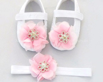 Pink Baby Girl shoes and Headband SET Christening baby girl shoes Pink girl shoe Crystal baby shoes Baptism baby girl shoes