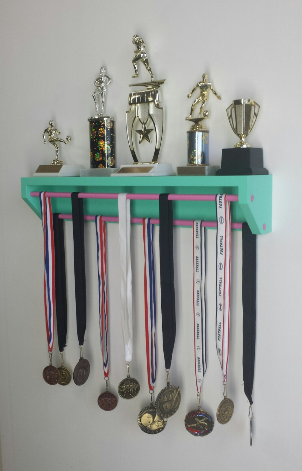 Trendy trophy display petite version aqua customize colors How to design a trophy