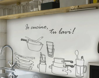 Wall Stickers. Wall sticker I cook You WASH-kitchen-House rules, black