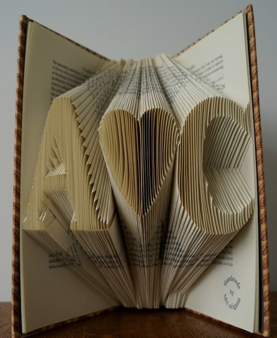 Folded book art -wedding gift for the couples-anniversary gift for him ...