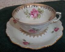 Vintage 1940 S Bavaria Schumann Embossed Porcelain Pink