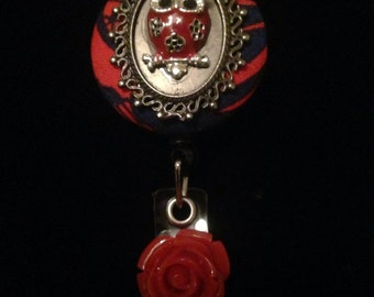 Flowered Red Owl -Nurse Retractable ID Badge Reel/ RN Badge Holder/Doctor Badge Reel/Nurse Badge Holder/Student Nurse badge reel/ nursing gi