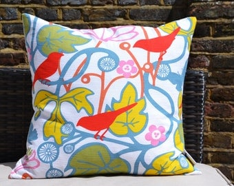 Red Scandi Bird Print Pillow Cover