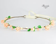 Cream Rosess Hair Accessories * Flower Crown * Roses wreath * Flower headband * Rustic wreath * Romantic Flower Headband * Roses crown