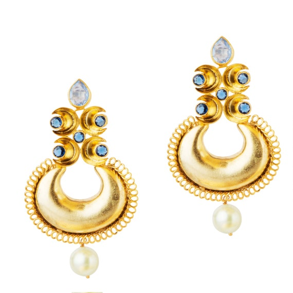 Indian gold earrings indian jewelry gold plated chandelier like this item aloadofball Choice Image