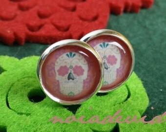 """Earrings """"Sugarskull"""" pink"""