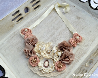 Fabric flower necklace, bib style, dusty rose