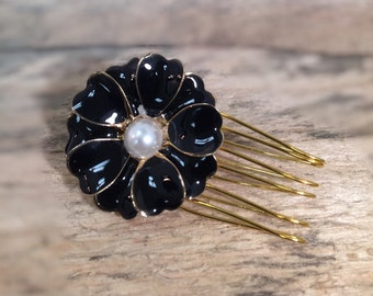 Black Flower Hair Comb