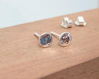 Silver Earrings Stud Hand Made Diameter 5mm