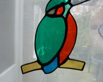 Stained glass suncatcher kingfisher
