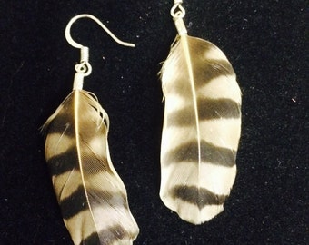 Handmade Feather Earrings with Sterling Silver Hooks