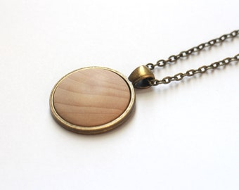 Wood Dome Pendant Necklace - Wood color - Simple, stylish, super cute.