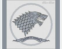 Cross Stitch Pattern Emblem direwolf house Stark Game of Thrones Counted Cross Stitch Pattern/Instant Download Epattern PDF File