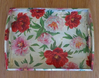 Wooden Tray with Handles, Serving Tray, Drink Tray, PEONIES
