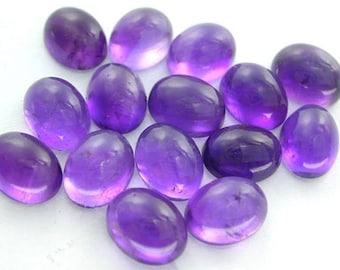 10-P Wholesale Lot Of  purple Amethyst Oval Shape Loose Gemstone Cabochon