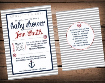 Nautical Baby Shower Invitation (Front and Back Included)
