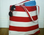 SALE! Large beach bag Large tote bag Red beach bag Red stripe beach bag Waterproof beach bag Cotton stripe beach bag Large beach tote