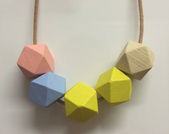 Pastel Wooden Geometric Necklace