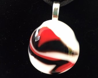 Red, Black and White Fused Glass Pendant