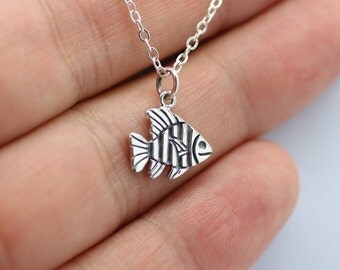TROPICAL FISH NECKLACE - 925 Sterling Silver - Sea Life Charm Ocean Beach Shark