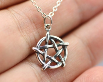PENTAGRAM NECKLACE - 925 Sterling Silver - Pagan Wicca Christ Inverted 5 Point