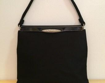 1950's Black satin De Pinna handbag, rhinestone clasp closure