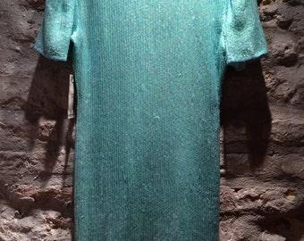 1970' sequined, silk mini dress, tunic. Size XS.