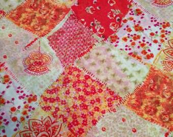 Orange Floral Patchwork Sheer Poly georgette