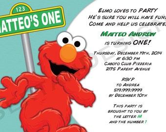 Elmo Birthday Invitation, 1st Birthday, 5x7 Sesame Street Birthday Invitation