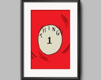 Thing 1 and Thing 2, Inspired in Dr Seuss, Wall Art Decor