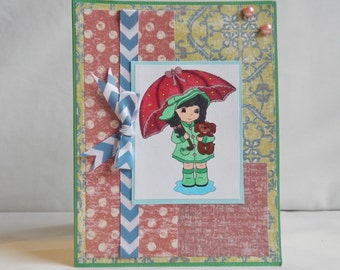 Spring Card, Paper Handmade Greeting Card, Blank Card, Rain, Vintage Looking Paper, Girl Card, Card For Her, Card Shop, Green, Pink, Blue