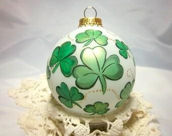 Shamrock Ornament,  Hand-Painted. St. Patricks Day, Luck of the Irish,  Bright Greens, Ireland, Keepsake ornament