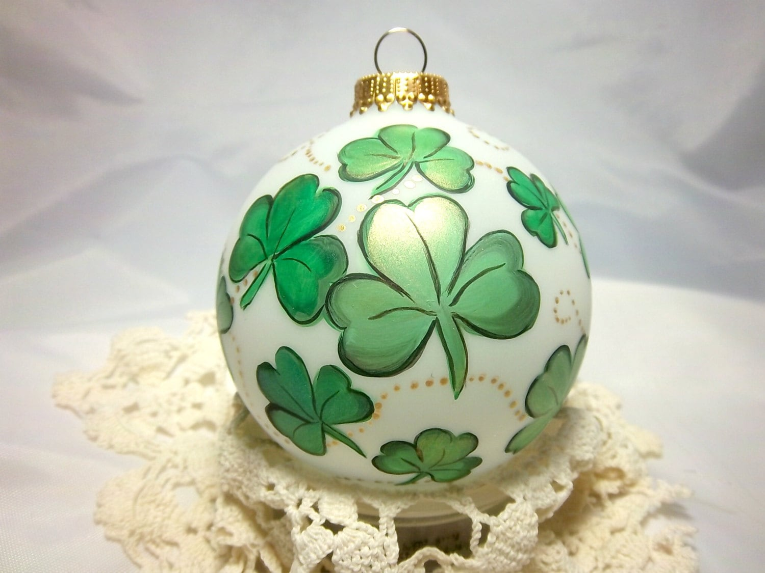 Shamrock Ornament Hand-Painted. St. Patricks Day Luck Of