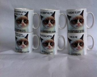 Set of 6 grumpy cat mugs  mugs Novelty..funny, birthday/wedding/fathers day/ gift,