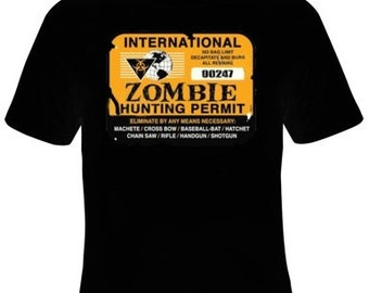 Zombie Hunting Permit T-Shirt Men's Sizes