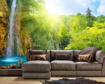 Waterfall Forest Mural, Wallpaper, Wall décor, Nursery and room décor, Wall art, Canvas print