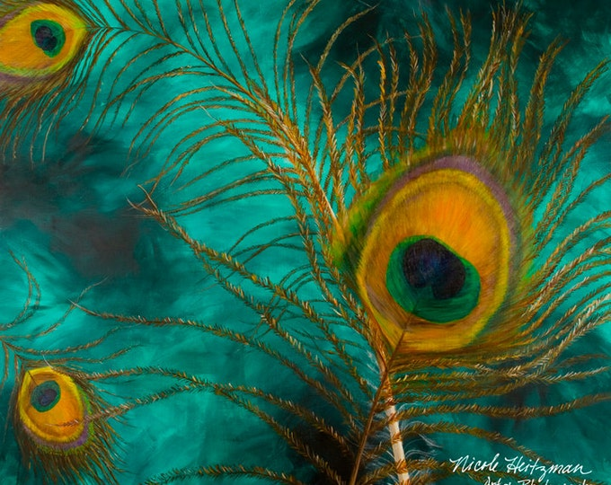 Peacock Art Feathers Eye of the Tail Feather Abstract Art Painting