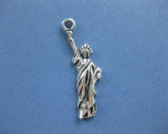 10 Statue of Liberty Charms - Statue of Liberty Pendants - Statue of Liberty- Antique Silver - 34mm x 10mm  -- (No.59-11024)