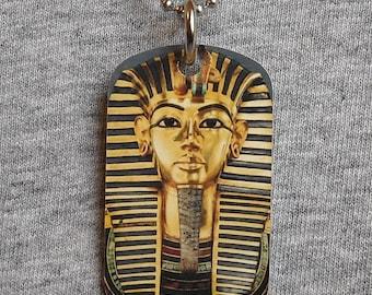 King tut jewelry etsy metal dog tag necklace king tut tutankhamun golden king ancient egypt egyptian pendant charm 2 aloadofball Gallery