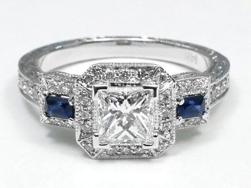 1 66 princess cut halo engagement ring blue sapphire