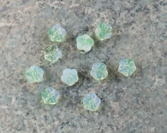 Vintage Givre Opal & Light Green Flower German Glass Beads 8mm (10)