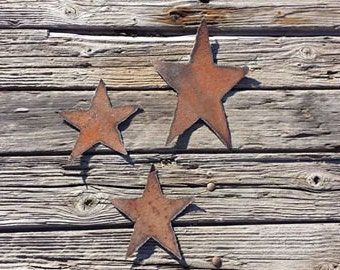 Rustic stars made out of recycled metal roofing