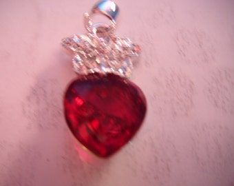 Ruby Red Heart Pendant