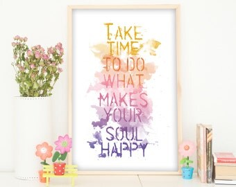 Instant Download Poster, Quote Art Print, Printable Wall Art, Typography, Inspirational Quote, Happy, Watercolor, Purple, Pink, Orange